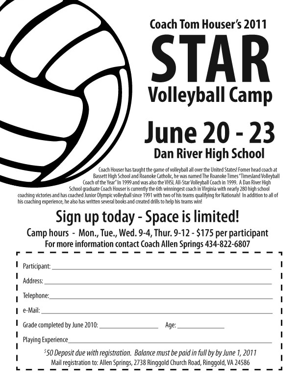 star volleyball camp at dan river high ringgold virginia. Black Bedroom Furniture Sets. Home Design Ideas